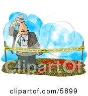 Crime Scene Investigator Investigating A Murder Clipart Picture by Dennis Cox