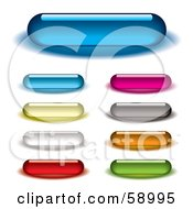 Digital Collage Of Colorful And Long Rounded Internet Buttons Version 1 by michaeltravers