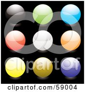 Digital Collage Of Rounded Colorful Orb Buttons Version 1 by michaeltravers