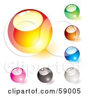 Digital Collage Of Rounded Colorful Orb Buttons Version 3 by michaeltravers
