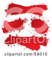 Digital Collage Of Red Ink Splat Grunge Text Boxes