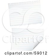 Royalty Free RF Clipart Illustration Of A Ripped Piece Of Lined Notebook Paper