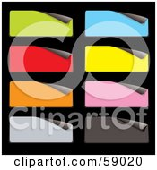 Royalty Free RF Clipart Illustration Of A Digital Collage Of Peeling Rectangular Stickers In Multiple Colors by michaeltravers