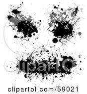 Digital Collage Of Three Messy Black Ink Splatters