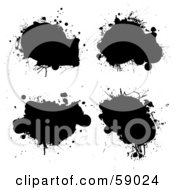 Digital Collage Of Four Black Grungy Ink Splatters