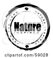 Royalty Free RF Clipart Illustration Of A Black And White Nature Inspired Stamp Seal by michaeltravers
