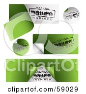 Royalty Free RF Clipart Illustration Of A Digital Collage Of Black White And Green Organic Nature Inspired Sticker Labels by michaeltravers