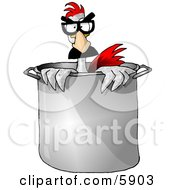 Disguised Anthropomorphic Chicken Standing In A Chefs Cooking Pot Clipart Picture