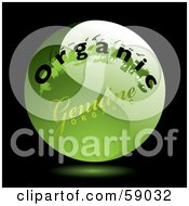 Royalty Free RF Clipart Illustration Of A Green Genuine Organic Button On Black by michaeltravers
