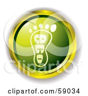 Royalty Free RF Clipart Illustration Of A Green Eco Footprint Website Button by michaeltravers