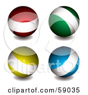 Royalty Free RF Clipart Illustration Of A Digital Collage Of Red Green Yellow And Blue Orbs With White Bands