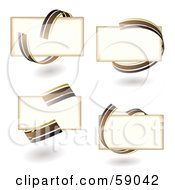 Royalty Free RF Clipart Illustration Of A Digital Collage Of Blank Text Boxes Circled With Brown Ribbons by michaeltravers