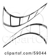 Royalty Free RF Clipart Illustration Of A Mirrored Reflection Of Black Film Strips by michaeltravers