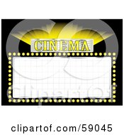 Shining Yellow Cinema Movie Sign With Blank Space On Black