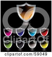 Royalty Free RF Clipart Illustration Of A Digital Collage Of Colorful Shield Icon Buttons Rimmed In Chrome Version 2 by michaeltravers