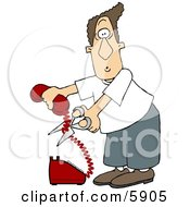 Angry Man Cutting The Phone Cord Clipart Picture