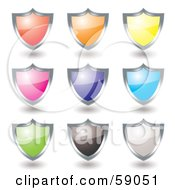 Royalty Free RF Clipart Illustration Of A Digital Collage Of Colorful Shield Icon Buttons Rimmed In Chrome Version 3 by michaeltravers #COLLC59051-0111