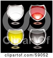 Royalty Free RF Clipart Illustration Of A Digital Collage Of White Red Yellow And Black Shiny Chrome Rimmed Shields On Black by michaeltravers