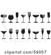 Royalty Free RF Clipart Illustration Of A Digital Collage Of Stemware Glasses by Frisko