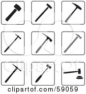 Royalty Free RF Clipart Illustration Of A Digital Collage Of Black And White Hammer Icons Version 2 by Frisko