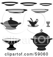 Digital Collage Of Black And White Kitchen Dishes