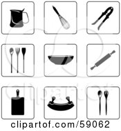 Royalty Free RF Clipart Illustration Of A Digital Collage Of Black And White Kitchen Icon Buttons Version 2