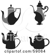 Royalty Free RF Clipart Illustration Of A Digital Collage Of Black And White Tea Pots