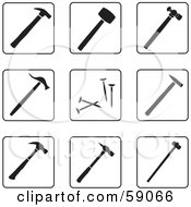 Royalty Free RF Clipart Illustration Of A Digital Collage Of Black And White Hammer Icons Version 1 by Frisko