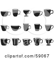 Royalty Free RF Clipart Illustration Of A Digital Collage Of Black And White Cups by Frisko
