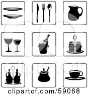 Royalty Free RF Clipart Illustration Of A Digital Collage Of Black And White Kitchen Icon Buttons Version 3 by Frisko