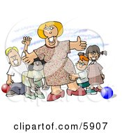 Happy Woman Standing With Children At A Daycare Clipart Picture