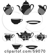 Digital Collage Of Black And White Tea Pots Saucers And Cups