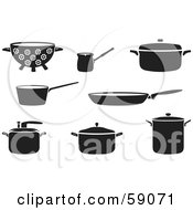 Royalty Free RF Clipart Illustration Of A Digital Collage Of Black And White Kitchen Cookware by Frisko