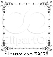 Royalty Free RF Clipart Illustration Of A White Background With A Black Floral Border And Flourishes