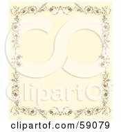 Cream Background Bordered With Colorful Flowers And Berries