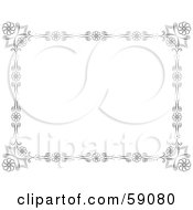 Royalty Free RF Clipart Illustration Of A Black And White Floral Border Around White by Frisko