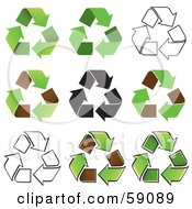 Royalty Free RF Clipart Illustration Of A Digital Collage Of Black And White And Green Recycle Arrow Icons by Frisko