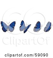 Royalty Free RF Clipart Illustration Of A Group Of Blue Flying Butterflies by Frisko