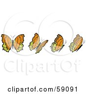 Royalty Free RF Clipart Illustration Of A Group Of Orange And Yellow Flying Butterflies by Frisko