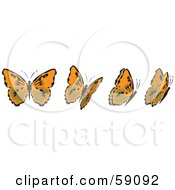 Royalty Free RF Clipart Illustration Of A Group Of Orange And Black Fluttering Butterflies by Frisko