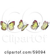Royalty Free RF Clipart Illustration Of A Group Of Yellow And Pink Flying Butterflies by Frisko