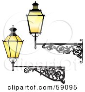 Royalty Free RF Clipart Illustration Of A Digital Collage Of Two Wrought Iron Lamp Fixtures