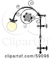 Royalty Free RF Clipart Illustration Of An Ornate Wrought Iron Lamp With A Rounded Glass Covering by Frisko