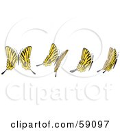 Royalty Free RF Clipart Illustration Of A Group Of Yellow Flying Butterflies by Frisko