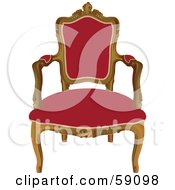 Elegant Wood Chair With Red Upholstery