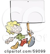 Happy Blond Boy Running With A Blank Sign On A Stick