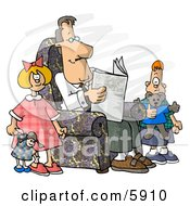 Divorced Dad Reading Newspaper Beside His Kids Clipart Picture