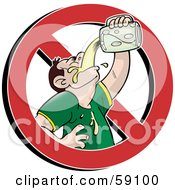 Royalty Free RF Clipart Illustration Of A Prohibited Symbol Around A Man Chugging Beer by Frisko