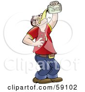 Royalty Free RF Clipart Illustration Of A Man Tilting His Head Back And Pouring Beer Into His Mouth by Frisko