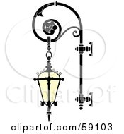 Royalty Free RF Clipart Illustration Of An Ornate Wrought Iron Lamp With A Hanging Lantern by Frisko